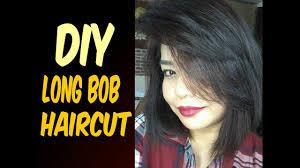 diy haircut long bob cut youtube