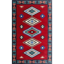 Round Wool Rugs Cherry Red Hand Tufted Southwestern Wool Rug American Home