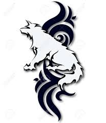 silhouette of a wolf and designs for tattoos royalty free cliparts