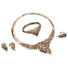leaf pattern necklace orina filigree leaf pattern crystal gold necklace bracelet ear