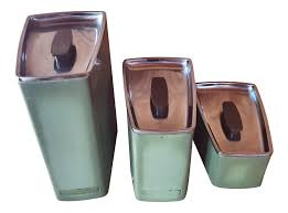 swan set of 3 tea coffee sugar green canisters jar kitchen storage