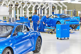renault alliance blue renault inaugurates new alpine a110 production line in france