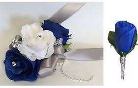 Wrist Corsages For Prom 2pc Wrist Corsage And Boutonniere Royal Blue And White For Prom