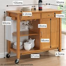 harrogate natural hevea hardwood kitchen trolley island oak finish