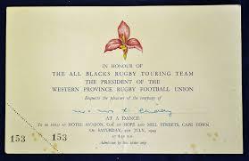Dinner Invitation Card 1949 Western Province V New Zealand Rugby Dinner Invitation Card