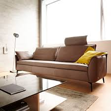contemporary sofa leather 2 seater with headrest pure
