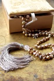 handmade charm necklace images Neutral color mala beads rose gold boho necklace blossom charm jpg