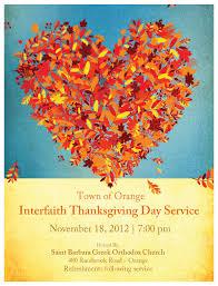 orange interfaith thanksgiving service november 18th 7pm temple