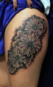 leg flower tattoos 40 black and white daisy tattoos