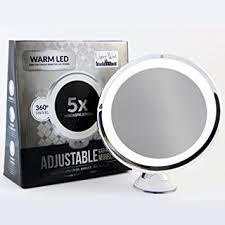 Magnifying Bathroom Mirror With Light Led Makeup Mirror Adjustable 5x Magnification