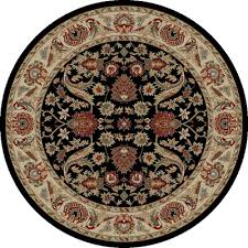 Black Round Area Rugs by Concord Global Trading Persian Classics Isfahan Black 5 Ft 3 In