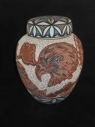 Vase For Ashes Native American Hand Carved Eagles On Ceramic Jar With Lid