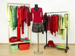 dressing closet with complementary colors red and green clothes