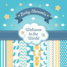 cute baby shower card elements