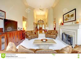 Living Room With High Ceiling by Impressive High Ceiling Living Room In Luxury House View Of
