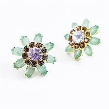 post earrings flower post earrings mint earrings with lavender accent