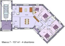 plan maison plain pied en l 4 chambres de maison en v plain pied 4 chambres