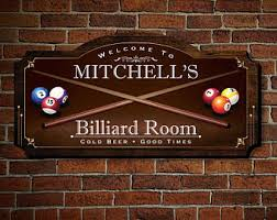 Personalized Home Decor Signs Custom Billiard Sign Etsy
