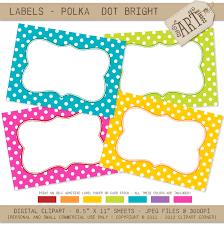 printable labels cards stickers bright polka dots journaling