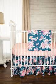 Preppy Crib Bedding Nursery Beddings Preppy Coral And Navy Baby Bedding Plus Solid