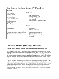 Business Travel Report Template Four Seasons Hotel And Resorts Swot Analysis Recession Risk