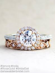 bridal gold ring lenore gold platinum diamond halo in mixed metal