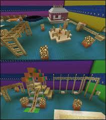 minecraft play room trampoline swing set sand box slide merry go