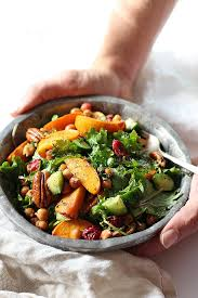 seasoned kale salad with chickpeas cranberry persimmon delightful
