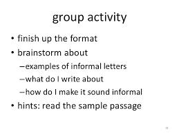 informal letter writing 1