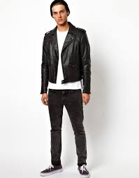 biker jacket men anerkjendt asos faux leather biker jacket in black for men lyst