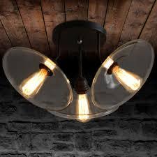 Umbrella Ceiling Light Fashion Style Semi Flush Mount Ceiling Lights Clear Industrial
