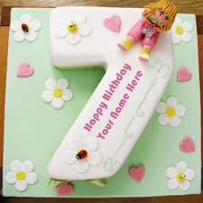 write name on 7th age cute birthday wishes cake pictures