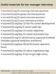 Performance Resume Sample by Bar Manager Resume Samples Visualcv Resume Samples Database Bar