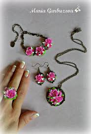 handmade flower bracelet images Polymer clay earrings handmade flowers jewelry floral ring jpg