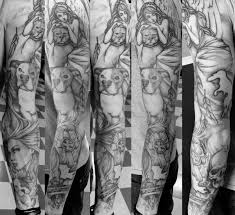 black n grey ink angel tattoo on half sleeve photos pictures