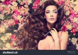 long hair lady brunette long shiny wavy hair stock photo 465628841