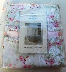 nwt simply shabby chic shower curtain pink cherry blossom 3 rows
