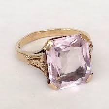 rose gold amethyst diamond ring art deco amethyst ring antique large 5ct stone 10k gold setting
