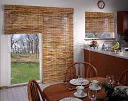 Wooden Patio Door Blinds by Shades Horizons Natural Woven Two On One Headrail Kitchen Jpg