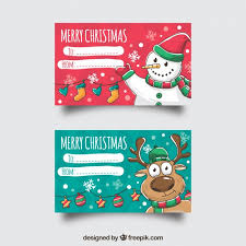 two merry cards with a snowman and a reindeer vector