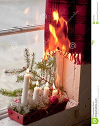 christmas candles starting a fire stock images image 27657564