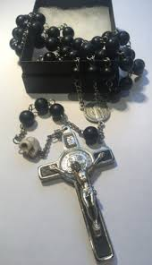 black rosary black wood rosary with st benedict cross skull rosaries by monks