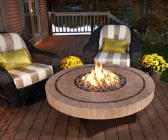 furniture back yard patio with round stone gas fire pit table
