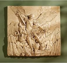 Catholic Home Decor Saint Michael Archangel Defeating Satan Wall Sculpture Decor New