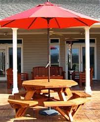 Wooden Hexagon Picnic Table Plans by Larchmont Picnic Table With Teak 10 Ft Octagon Umbrella In