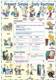 present simple daily routines frequency adverbs worksheet