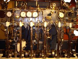steampunk fantasy art train station photo of controls and pipes