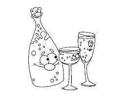 disegni bicchieri disegno di bottiglie de chagne e bicchieri da colorare