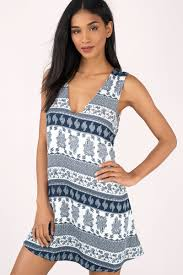 Alexia by Blue Multi Dress Plunging Dress Tile Print Dress Shift Dress