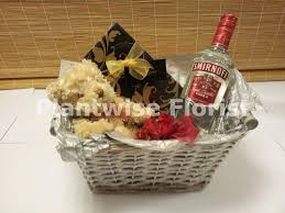 vodka gift baskets vodka gift with teddy and chocolates in beautiful gift